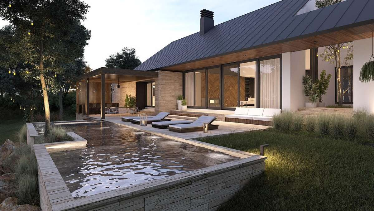 A rendering of the pool and back of the house.