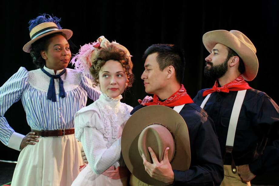 """Bottom: Demetria Thomas, from left, stars as Beatrice, Susie Parr as Hero, David Huynh as Claudio and Patrick Poole as Benedick in """"Much Ado About Nothing,"""" this staging set in the late 1800s. Photo: Gary Fountain, For The Chronicle / Copyright 2016 Gary Fountain"""