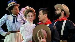 "Bottom: Demetria Thomas, from left, stars as Beatrice, Susie Parr as Hero, David Huynh as Claudio and Patrick Poole as Benedick in ""Much Ado About Nothing,"" this staging set in the late 1800s."