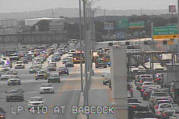 Traffic is backed up near Babcock Road and Loop 410 on July, 28, 2016, at 2:45 p.m. following a multi-vehicle crash on the loop.