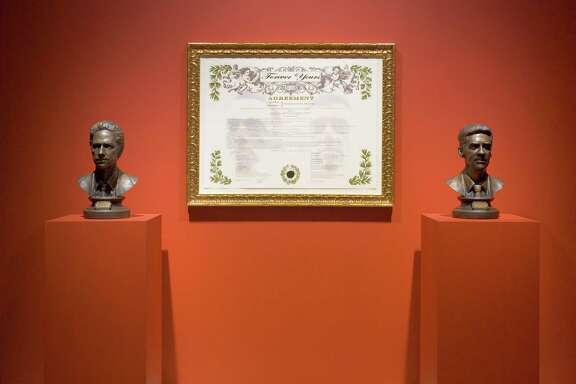 "Among works offered in the Art Guys' ""Final Sale"": ""Forever Yours"" (2007-09) bronze busts with engraved brass plaques, digital archival print in gold frame."