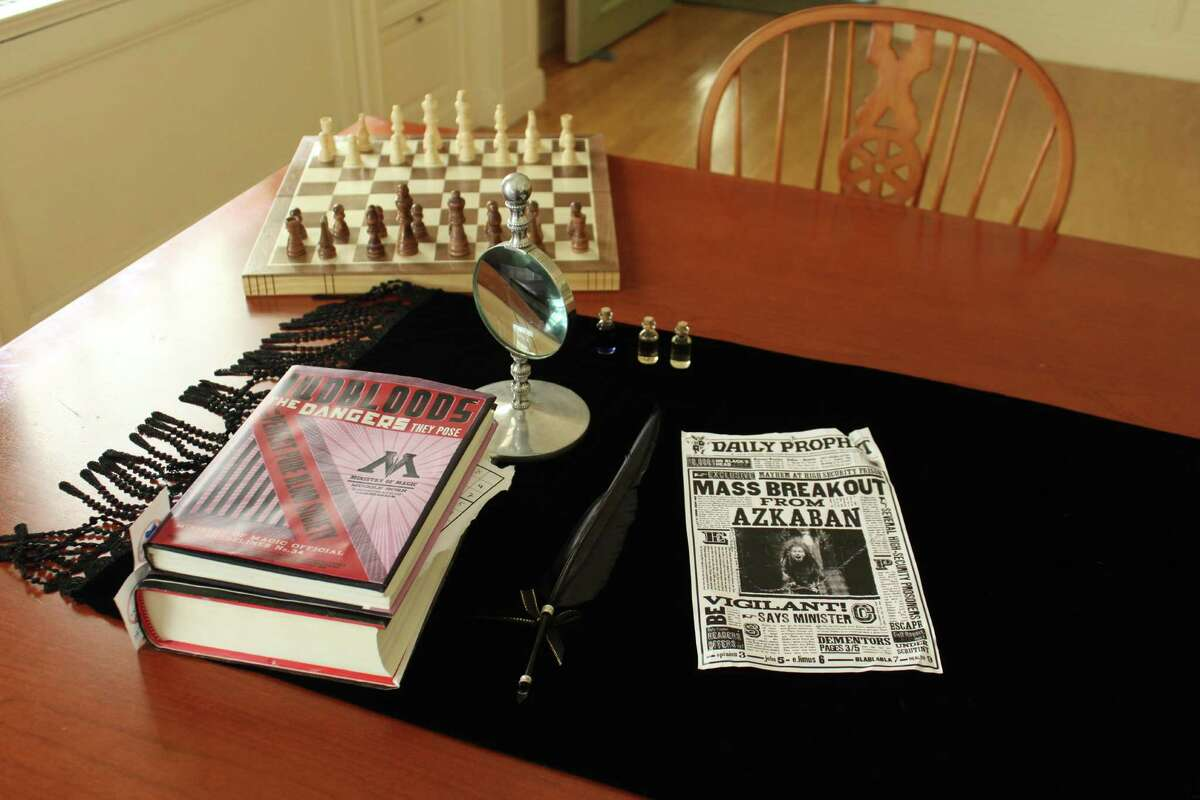 Fairfield Public Library kicked off four days of a Harry Potter-themed locked room mystery game on t 27, 2016 in Fairfield Conn. Harry Potter-themed clues and puzzles were hidden throughout the Memorial and Jennings Rooms of the library.