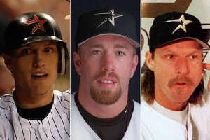 Hunter Pence (from left), Jeff Bagwell and Randy Johnson have been involved in some of the Astros' most notable trade-deadline deals. 