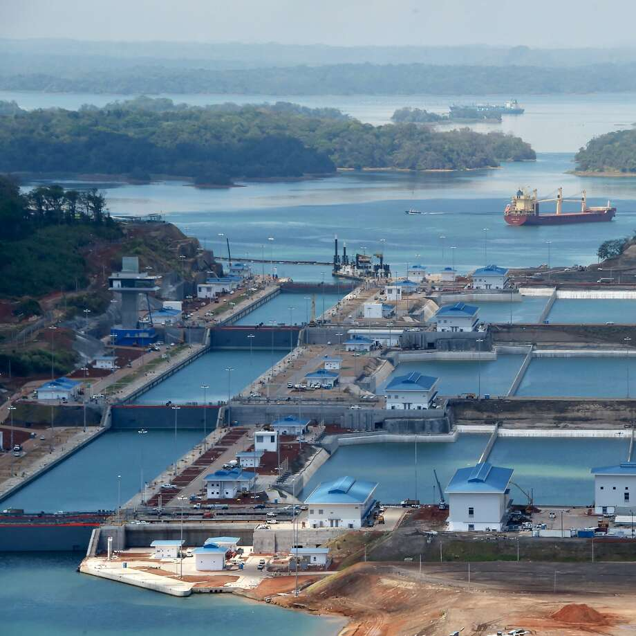 Aerial view showing the new Panama Canal expansion at the Gatun Locks in Colon, Panama on May 11, 2016, during a media tour organized by Italian industrial group Salini Impregilo, sub-contractor of the canal expansion project. Panamanian President Juan Carlos Varela is set to host an inauguration ceremony of Panama's newly expanded canal on June 26 to which 70 foreign heads of state and government have been invited. / AFP PHOTO / RODRIGO ARANGUARODRIGO ARANGUA/AFP/Getty Images Photo: RODRIGO ARANGUA, AFP/Getty Images