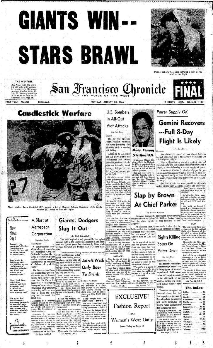 Historic Chronicle Front Page August  23, 1965  The Giants Juan Marichal and the Dodgers Johnny Roseboro would brawl, with Marichal striking Roseboro in the head Chron365, Chroncover
