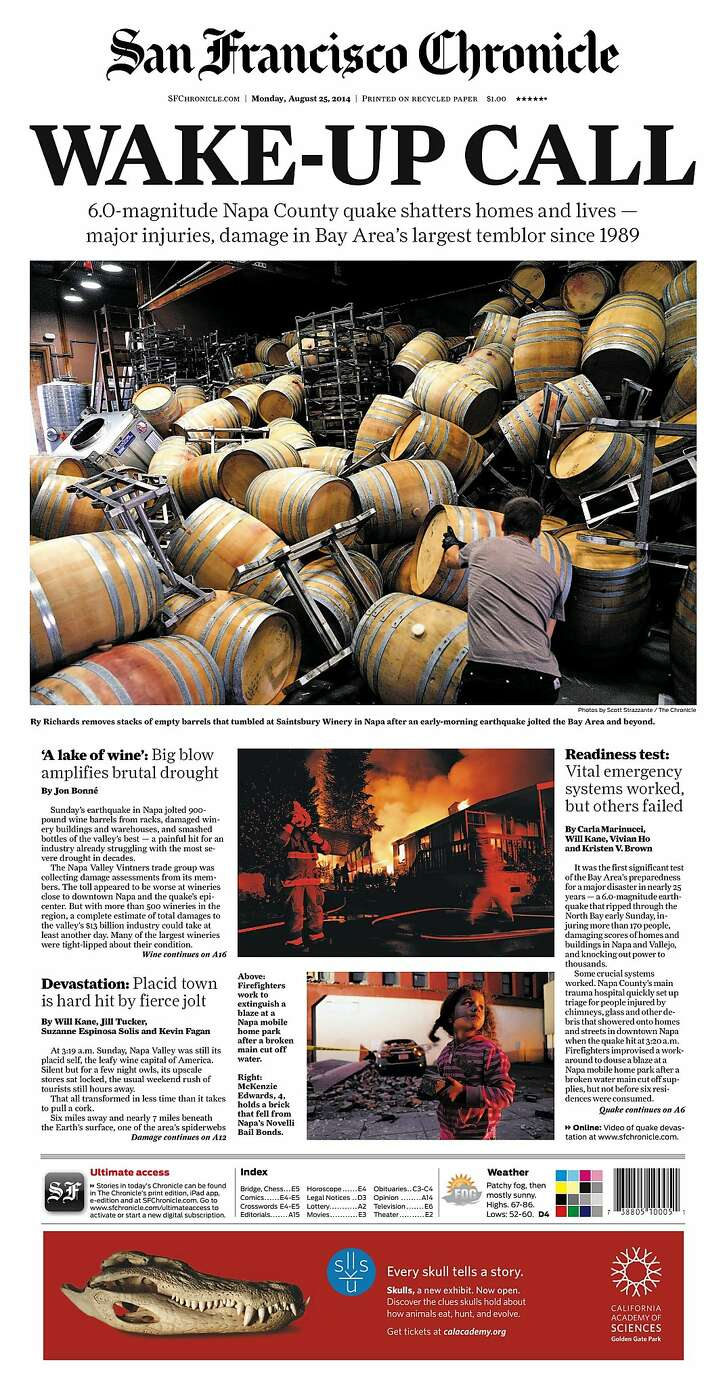 Historic Chronicle Front Page August  25, 2014  Earthquake rattles Napa and vicintity  Chron365, Chroncover