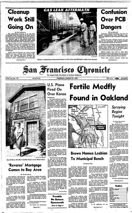 The Chronicle's front page from Aug. 27, 1981, covers a major Northern California chemical spill. Photo: The Chronicle 1981