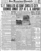 Historic Chronicle Front Page August  26, 1929  The blimp Graf Zeppelin flies over the Chronicle Building, and San Francisco  Chron365, Chroncover