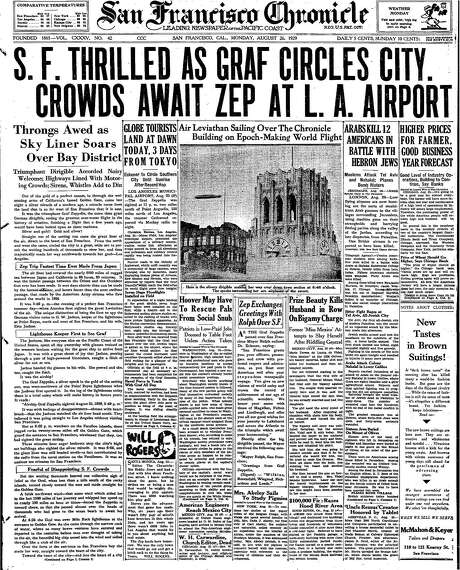 The Chronicle's front page from Aug. 26, 1929, covers the Graf Zeppelin's flight over San Francisco. Photo: The Chronicle 1929
