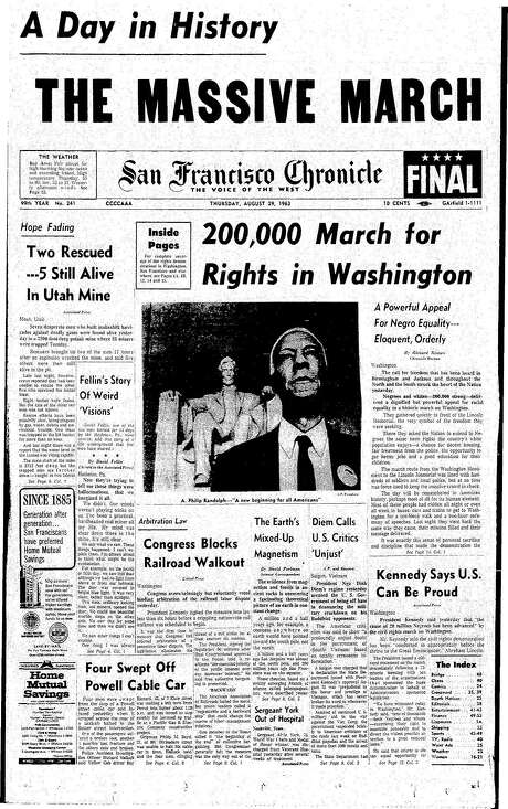 The Chronicle's front page from Aug. 29, 1963, covers the March on Washington for Jobs and Freedom, a civil rights milestone. Photo: The Chronicle 1963