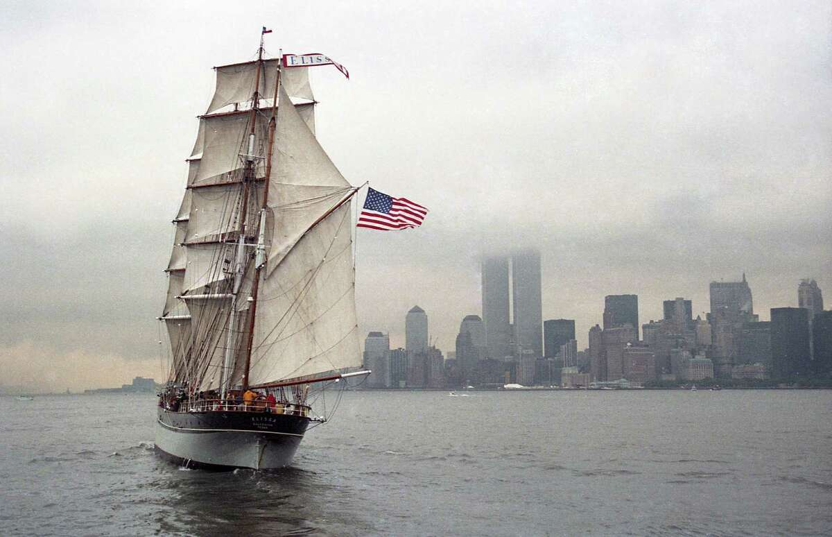 The tall ship Elissa arrives in New York Harbor for Liberty Weekend festivities celebrating the rededication of the Statue of Liberty, July 4, 1986.