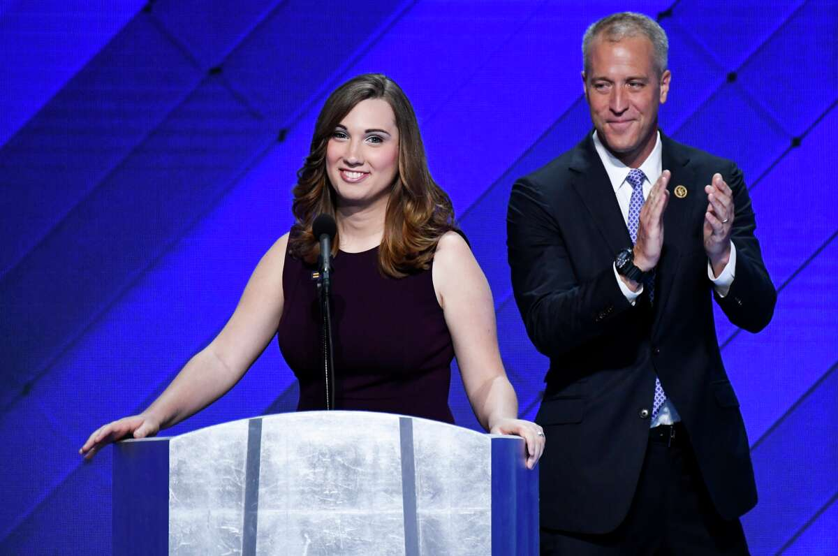 Rep. Sean Patrick Maloney, D-N.Y., claps as LGBT rights activist Sarah McBride speaks at the Democratic National Convention in Philadelphia on Thursday, July 28, 2016. Sarah became the first transgender person to address a national political convention.