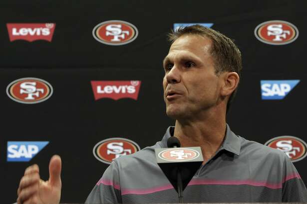 San Francisco 49ers' 49ers GM Trent Baalke comments on the retirement of linebacker Patrick Willis, during a press conference at Levi's Stadium in Santa Clara, Ca. on Tues. March 10, 2015.
