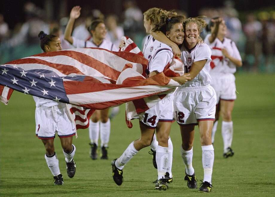 Team USA celebrates its 2-1 win over China in Athens, Ga., to claim the Olympic gold medal in 1996. U.S. women are favored to win gold in Rio de Janeiro in many of the major team sports. Photo: David Cannon, Getty Images