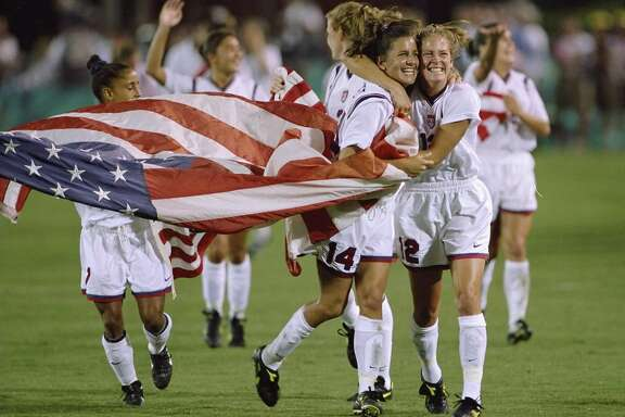 Team USA celebrates their win in the Women''s Soccer Finals during the 1996 Olympic Games in the Sanford Stadium in Athens, Georgia. The Women''s Team USA defeated the Women''s Team China 2-1.