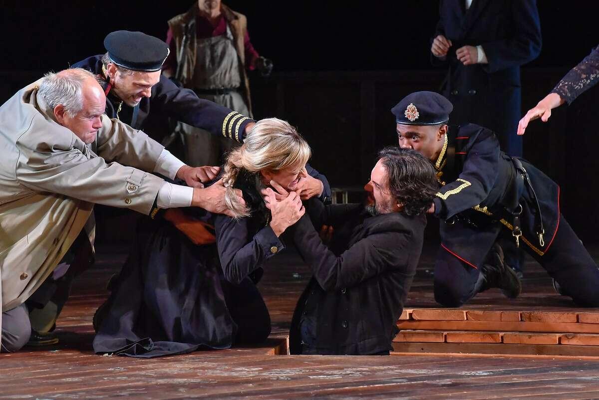 Horatio (Mike Ryan, left),�Marcellus�(Kyle Hester),�Hamlet (Kate Eastwood Norris),�Laertes�(Cody Nickell) and�Barnardo (Christian Strange).