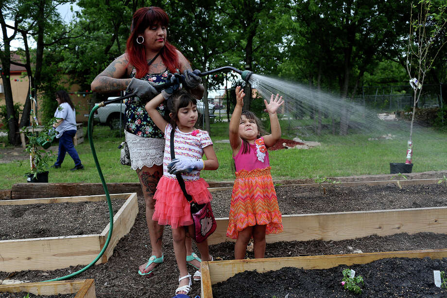 Sabrina Garza waters her family's garden plot with her daughters, Aliea Garza, 6, and Fae Garza, now 4, at the Gardopia Gardens community garden on New Braunfels Avenue in April. Gardopia, a nonprofit, is trying to raise money to continue the garden and expand it at its present site at the intersection with Nolan Avenue. Photo: Lisa Krantz /San Antonio Express-News / SAN ANTONIO EXPRESS-NEWS
