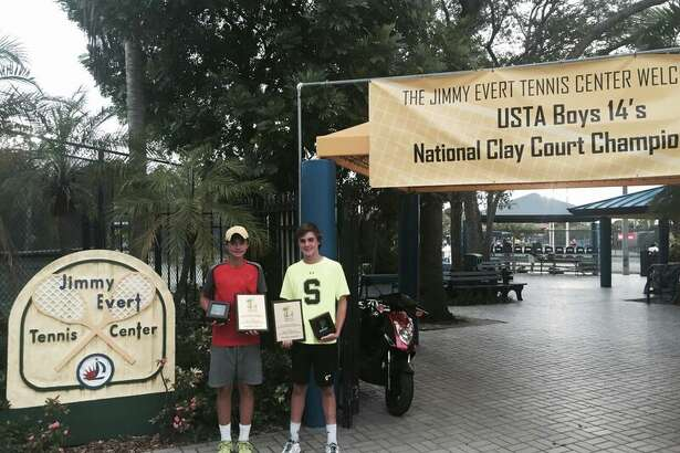 From left, Jeremie Casabon and Greenwich resident Eliot Spizzirri advanced to the finals of the USTA Boys 14s National Clay Court Championships in Fort Lauderdale, Fla., last week.