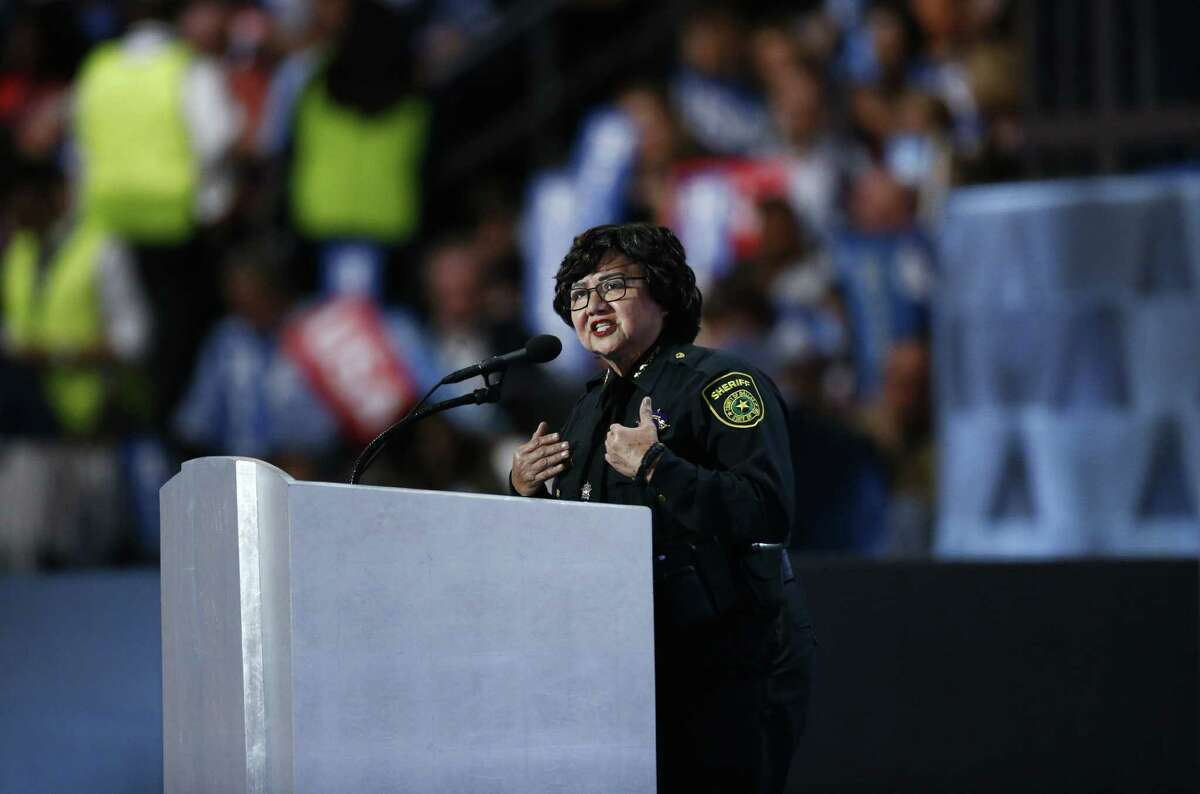 Dallas Sheriff Lupe Valdez is resigning her position and is expected to run for Texas governor as a Democrat. Here, she speaks during the Democratic National Convention (DNC) in Philadelphia, Pennsylvania, U.S., on Thursday, July 28, 2016. Photographer: Andrew Harrer/Bloomberg