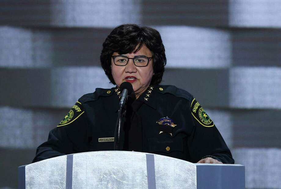 Dallas Sheriff Lupe Valdez speaks during the last day of the Democratic National Convention at the Wells Fargo Center in Philadelphia on Thursday, July 28, 2016. Photo: Olivier Douliery, TNS / Abaca Press