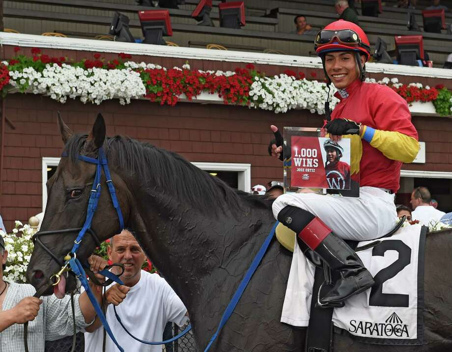 Jockey Jose Ortiz gets his 1000th win on Moonlight Song Thursday July 28, 2016 at the Saratoga Race Course in Saratoga Springs, N.Y.  (Skip Dickstein/Times Union) Photo: SKIP DICKSTEIN