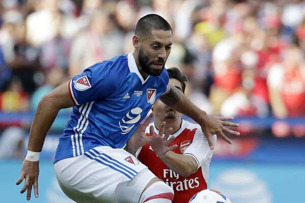 MLS All-Stars' Clint Dempsey, of Seattle Sounders, controls the ball against Arsenal during the second half of the MLS All-Star soccer game Thursday, July 28, 2016, in San Jose, Calif. Arsenal won 2-1. (AP Photo/Marcio Jose Sanchez)