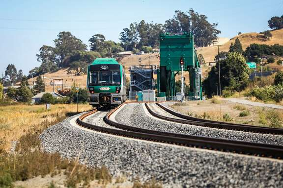 A Sonoma-Marin Smart train goes for a test ride in Petaluma, California, on Thursday, July 28, 2016.