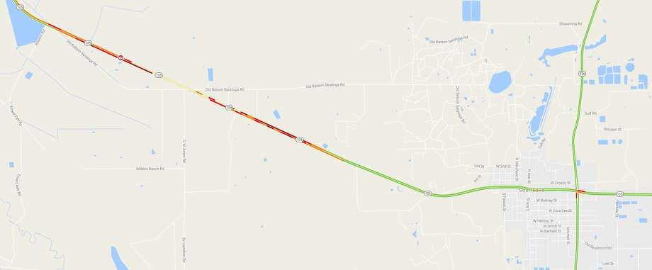 At least one person has died and five others injured in a multi-vehicle crash about five miles west of Sour Lake Friday morning. Photo: Google Maps