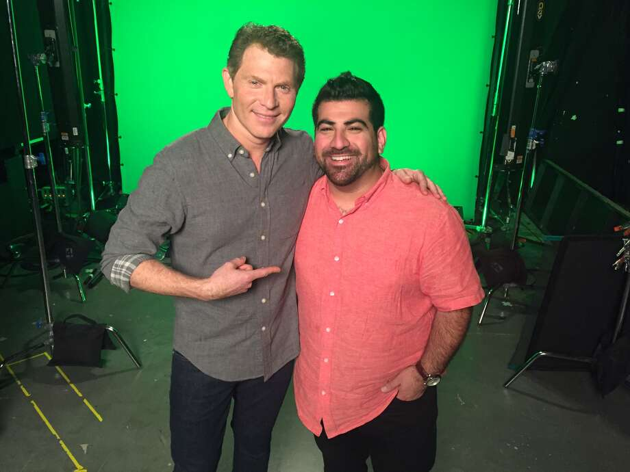 """Food Network star Bobby Flay and Roost chef Kevin Naderi on the set of """"Beat Bobby Flay,"""" which Naderi did on July 28 episode. Photo: Courtesy Photo"""