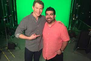 """Food Network star Bobby Flay and Roost chef Kevin Naderi on the set of """"Beat Bobby Flay,"""" which Naderi did on July 28 episode."""
