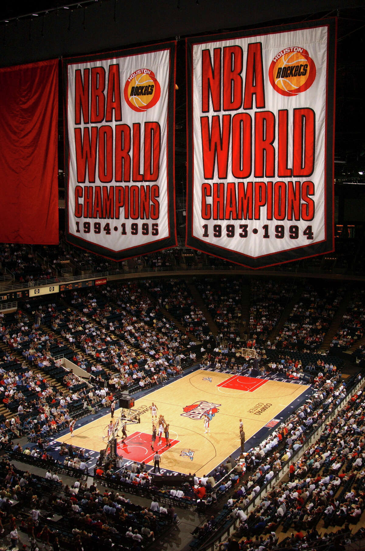 April 16, 2003 - Banners from the glory years of the Houston Rockets - back-to-back NBA championships - fly for the last time from the rafters of Compaq Center. The facility once known as The Summit served as the Rockets' home for 28 years. Compaq Center became Lakewood Church and the Rockets, moved to a downtown facility the next season. The Rockets prevailed in their final home game at the site with a 97-86 win over the Memphis Grizzlies. Â Houston Chronicle