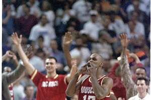 Mario Elie does the kiss of death. NBA Basketball Western Conference semifinals game, Rockets vs Suns at America West Arena. Sat. May 20, 1995 Â Houston Chronicle