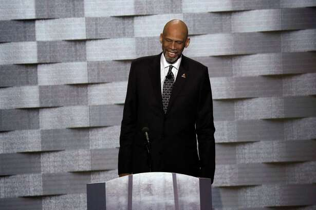 Kareem Abdul-Jabbar, the basketball legend, takes the stage at the Democratic National Convention in Philadelphia, July 28, 2016. Abdul-Jabbar introduced the family of Humayun S. M. Khan, a Muslim who died serving in the Army. (Jim Wilson/The New York Times)