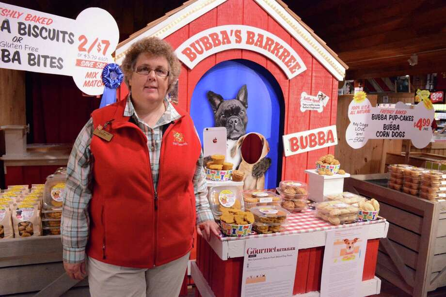Barb Bucknam, a Stew Leonards employee, created a new dog biscuit which is being sold in their stores. The biscuits are baked in the bakery on premises and are sugar and salt free. They are edible for humans as well as dogs.  Tuesday, July 26, 2016 Stew Leonards in Danbury, CT. Photo: Lisa Weir / For Hearst Connecticut Media / The News-Times Freelance