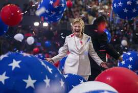 Hillary Clinton after accepting the party�s presidential nomination, at the Democratic National Convention in Philadelphia, July 28, 2016. (Ruth Fremson/The New York Times)