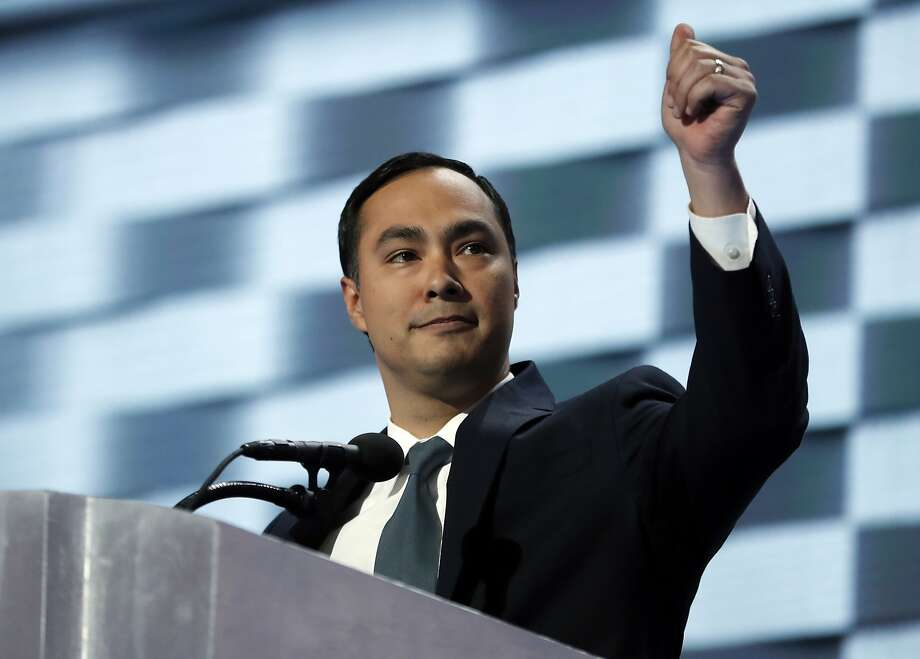 Rep. Joaquin Castro, D-Tex., gives his thumb up as he speaks during the final day of the Democratic National Convention in Philadelphia, Thursday, July 28, 2016. (AP Photo/Carolyn Kaster) Photo: Carolyn Kaster, Associated Press