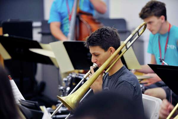 Guilderland High School student, Joe Giordano, plays the trombone during a studio class with Wynton Marsalis at the Jazz at Lincoln Center Summer Jazz Academy on Wednesday, July 20, 2016, at Bard College in Annandale-on-Hudson, N.Y.   (Paul Buckowski / Times Union)