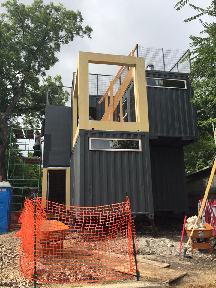 one of first san antonio container homes nearing completion in downtown area san antonio. Black Bedroom Furniture Sets. Home Design Ideas