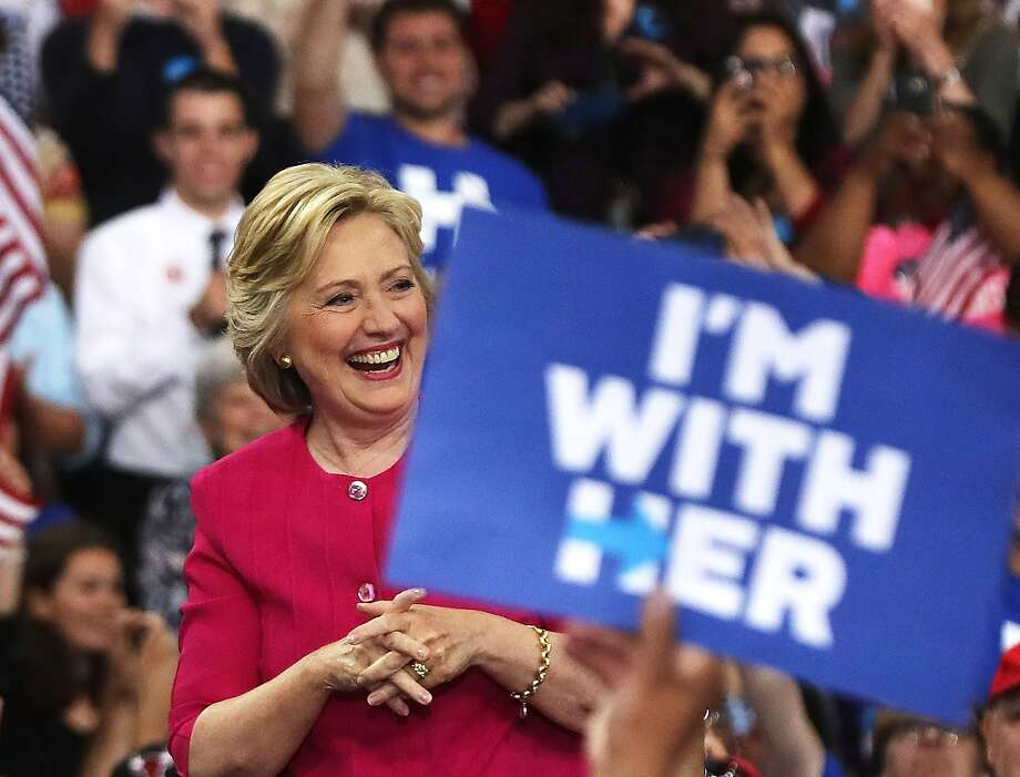 """Eighteen percent of voters think the """"I"""" in """"I'm With Her"""" refers to Satan. Photo: Spencer Platt, Getty Images"""