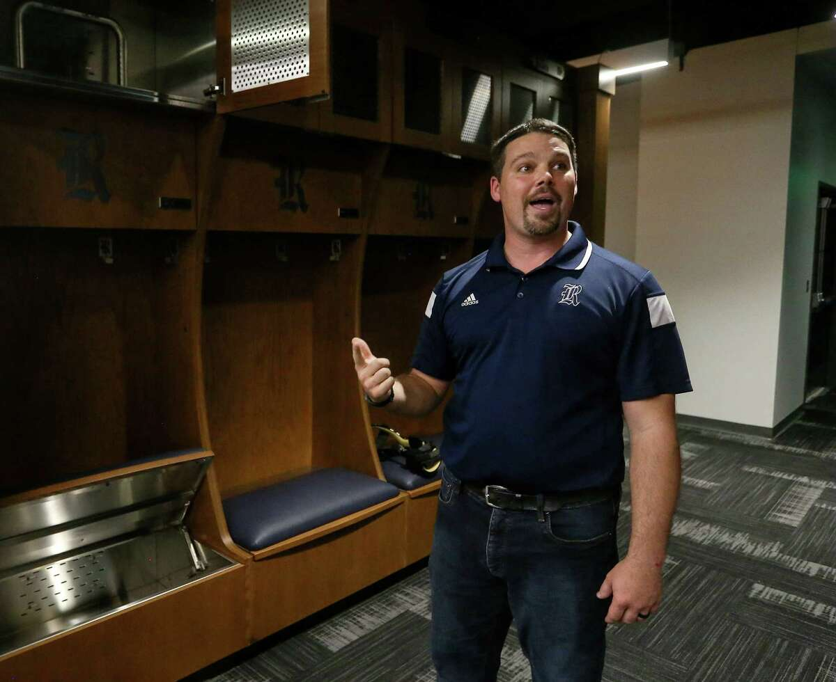 Ryan Bucher, assistant athletic director for facilities and events, speaks about the team locker room at the Brian Patterson Sports Performance Center, during a media tour, at Rice University, Friday, July 29, 2016, in Houston.