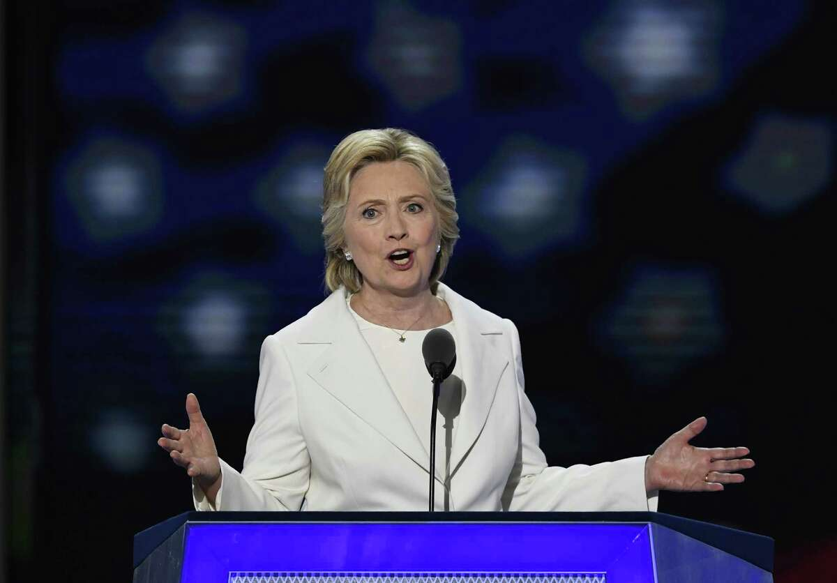 Hillary Clinton speaks during the Democratic National Convention in Philadelphia Thursday. Take a look back at Clinton's time in the public eye.