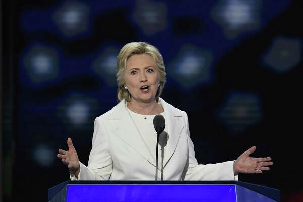 Hillary Clinton speaks during the Democratic National Convention in Philadelphia Thursday. (David Paul Morris/Bloomberg).