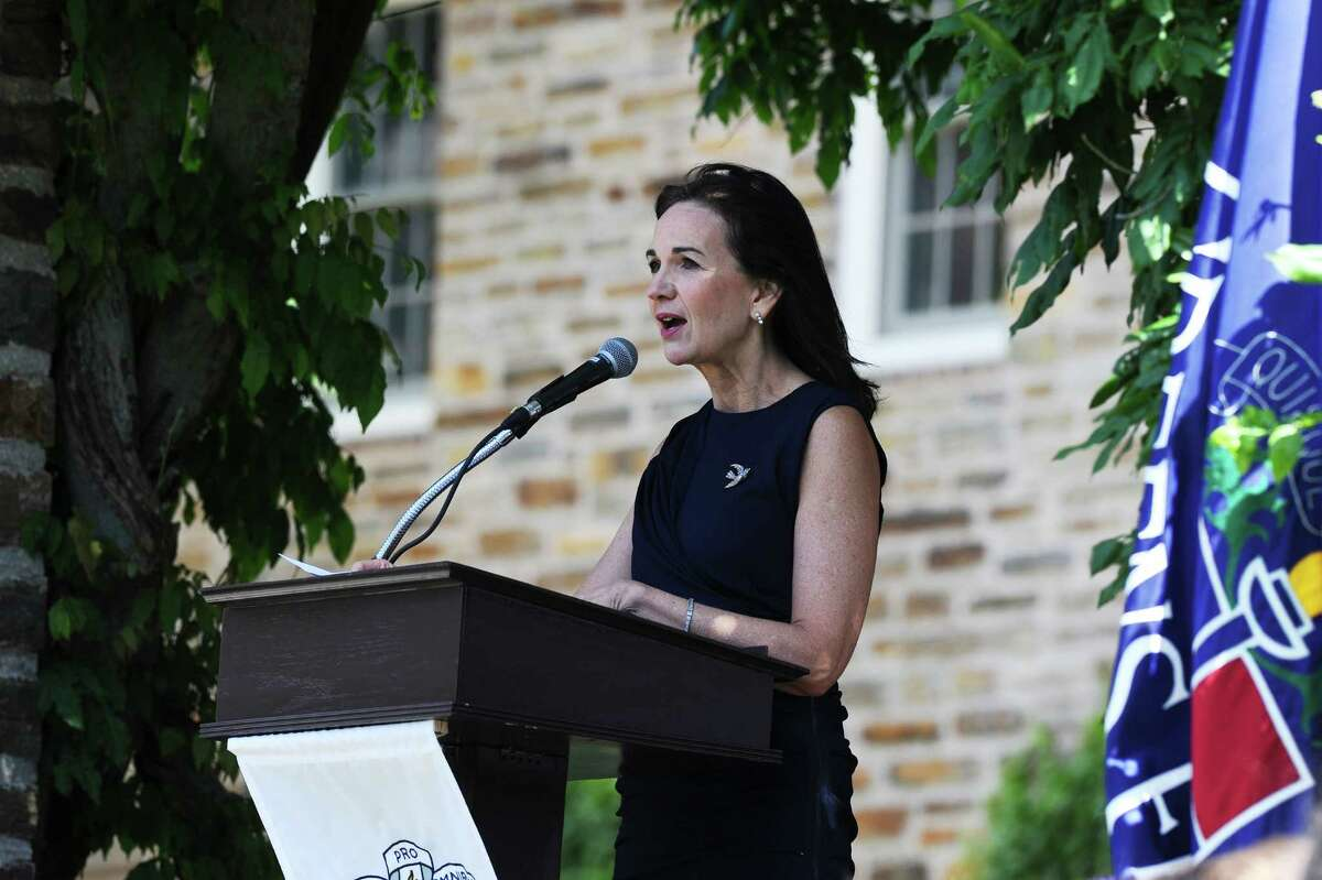 Greens Farms Academy alumnus Deirdre Daly, U.S. Attorney for the District of Connecticut, speaks to the departing senior class during the GFA graduation on Thursday, June 9, 2016 in Westport, Conn.