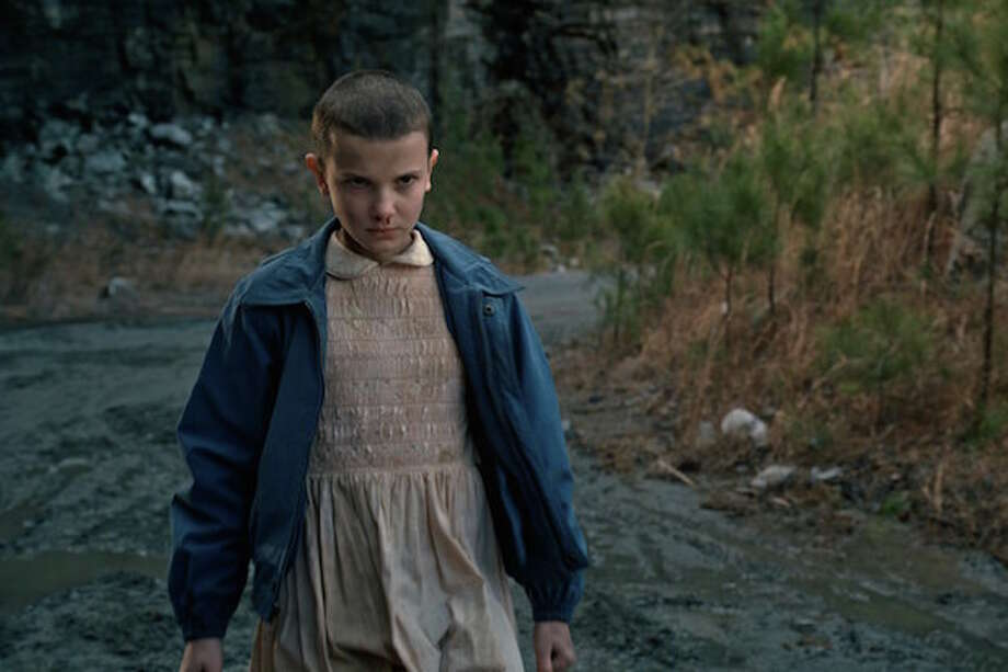 """1. Eleven (a.k.a. Elle, played byMillieBobby Brown)is pictured in a scene from the Netflix series """"Stranger Things."""" Photo: The Wrap"""