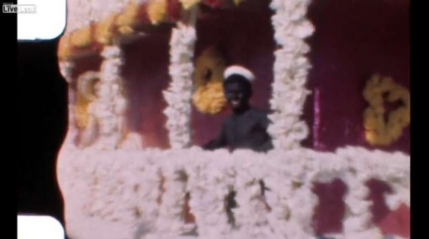 The soundless, dated film also shows a man in black face.