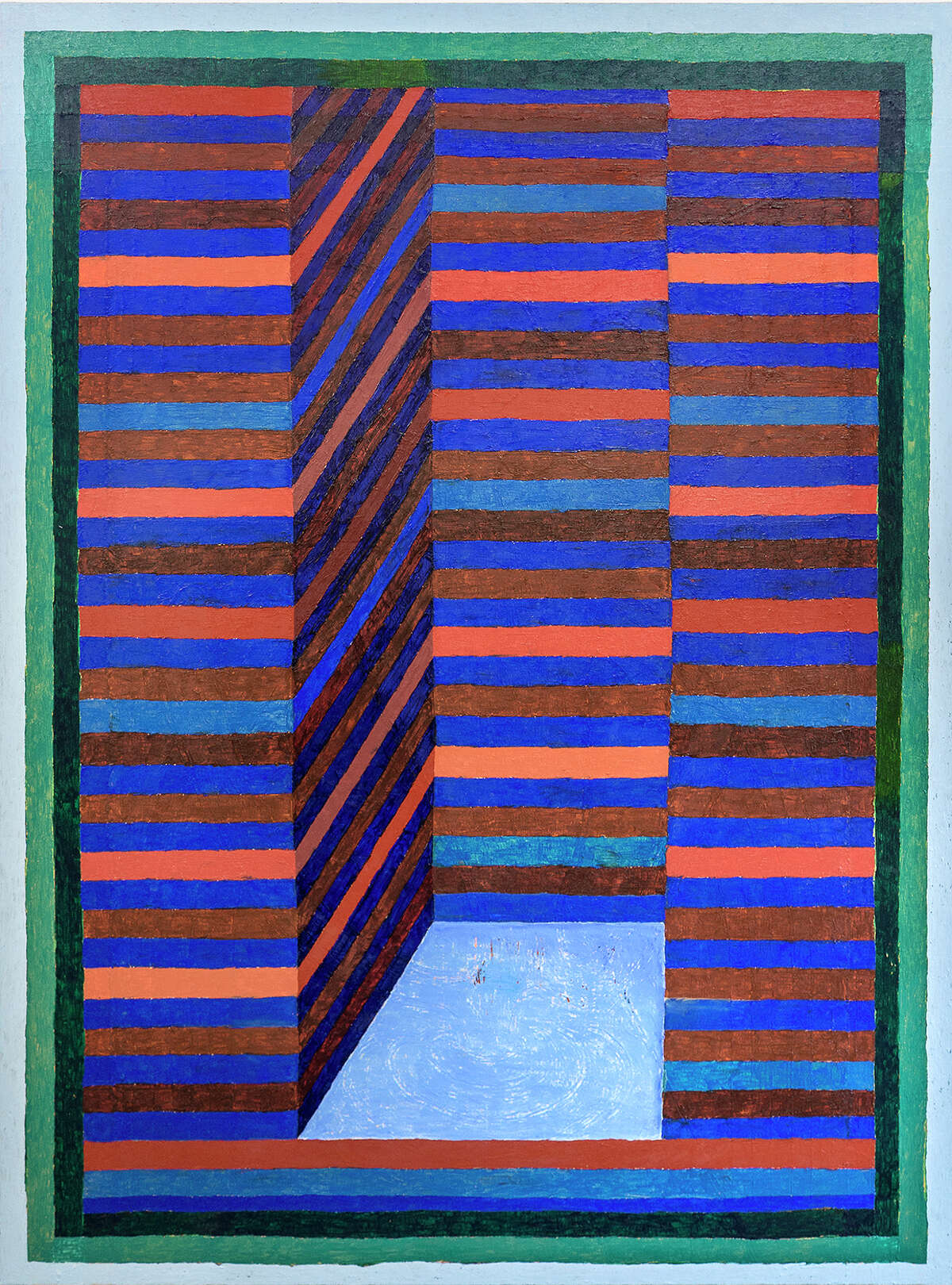 """Matt Kleberg's """"Catacomb Catapult (for Eddie)"""" is one of four recent oil stick on canvas paintings in his show """"Caterwauler"""" at Hiram Butler Gallery through Aug. 27."""