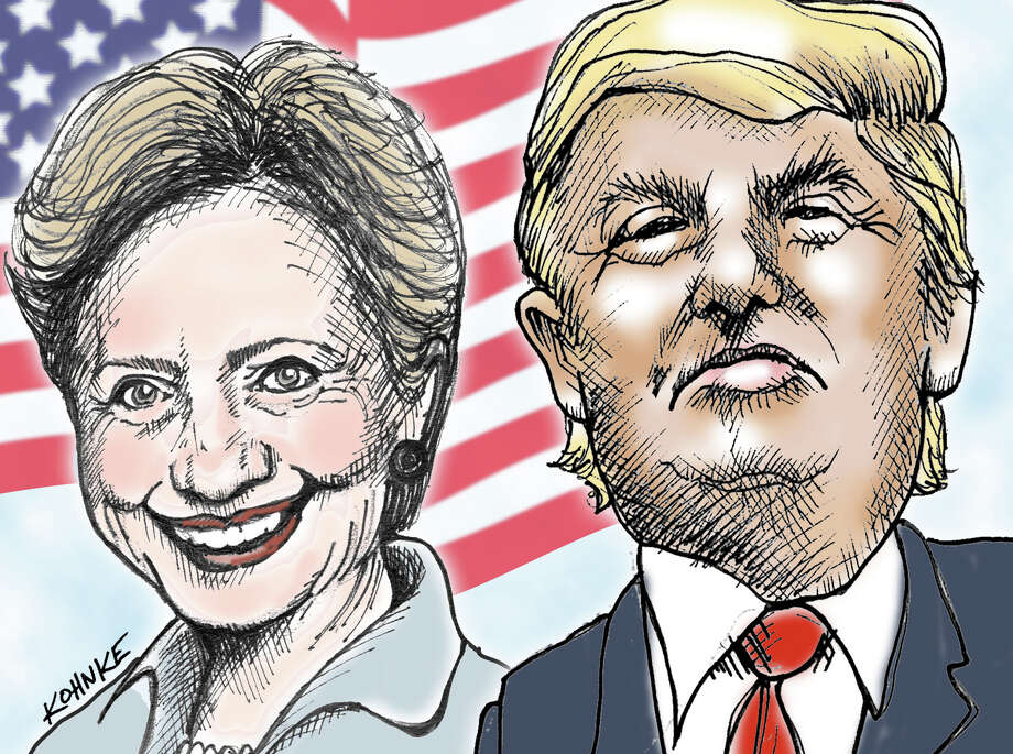 This artwork by Jennifer Kohnke refers to Hillary Clinton and Donald Trump facing off in the 2016 presidential election. Photo: Jennifer Kohnke