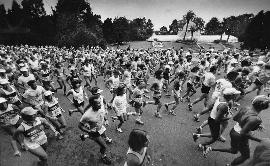Runners in Golden Gate Park, with the Arboretum in the background,  during the San Francisco Marathon in 1984. Photo: Steve Ringman, The Chronicle