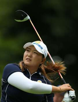 South Korea's Mirim Lee (Lee Mi-rim) tees off on the 16th hole on the second day of the 2016 Women's British Open Golf Championships at Woburn Golf Club in central England, on July 29, 2016.  / AFP PHOTO / GEOFF CADDICKGEOFF CADDICK/AFP/Getty Images