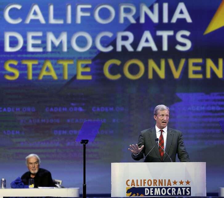 Billionaire climate activist Tom Steyer gestures while speaking before the California Democrats State Convention Saturday, Feb. 27, 2016, in San Jose, Calif. (AP Photo/Ben Margot)